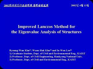 2002 2002 4 13 Improved Lanczos Method for