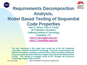 California Institute of Technology Requirements Decomposition Analysis Model