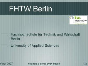 FHTW Berlin Fachhochschule fr Technik und Wirtschaft Berlin