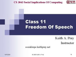 CS 3043 Social Implications Of Computing Class 11