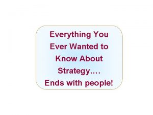 Everything You Ever Wanted to Know About Strategy