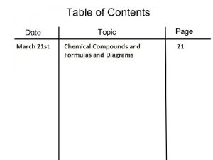 March 21 st Chemical Compounds and Formulas and