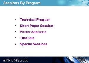 Sessions By Program Technical Program Short Paper Session