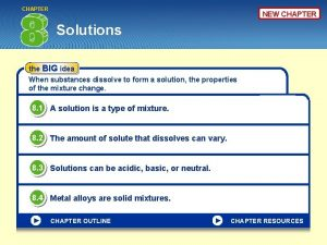 CHAPTER NEW CHAPTER Solutions the BIG idea When
