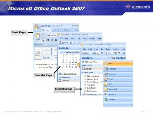 Microsoft Office Outlook 2007 Email Page Calendar Page