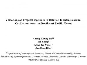 Variations of Tropical Cyclones in Relation to IntraSeasonal