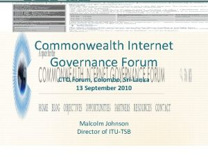 Commonwealth Internet Governance Forum CTO Forum Colombo SriLanka