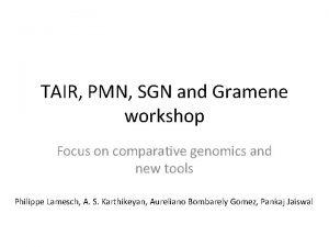 TAIR PMN SGN and Gramene workshop Focus on