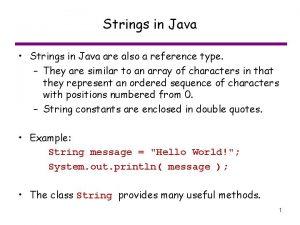 Strings in Java Strings in Java are also