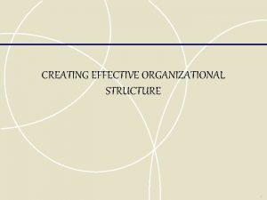 CREATING EFFECTIVE ORGANIZATIONAL STRUCTURE Traditional Forms of Organizational