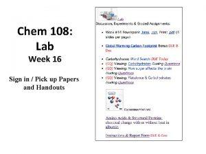 Chem 108 Lab Week 16 Sign in Pick
