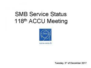 SMB Service Status 118 th ACCU Meeting Tuesday
