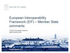 European Interoperability Framework EIF Member State comments 15