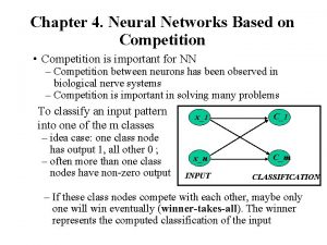 Chapter 4 Neural Networks Based on Competition Competition