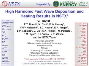NSTX Supported by High Harmonic Fast Wave Deposition