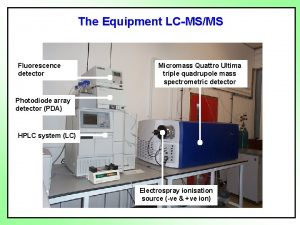 The Equipment LCMSMS Fluorescence detector Micromass Quattro Ultima