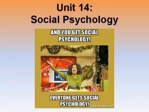 Unit 14 Social Psychology Introduction Social Psychology the