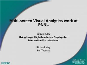 Multiscreen Visual Analytics work at PNNL Infovis 2005