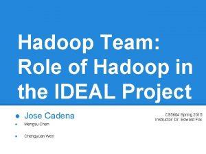 Hadoop Team Role of Hadoop in the IDEAL