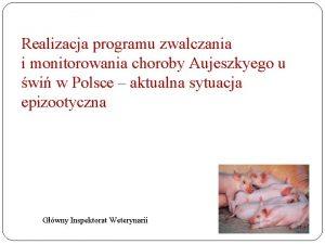 Realizacja programu zwalczania i monitorowania choroby Aujeszkyego u