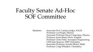 Faculty Senate AdHoc SOF Committee Members Associate Prof