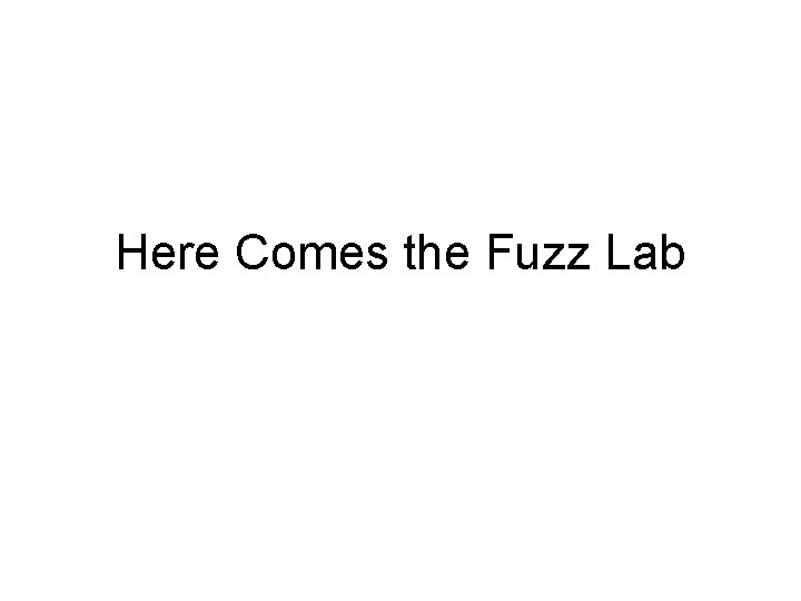 Here Comes the Fuzz Lab Here Comes the