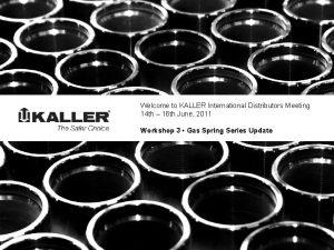 Welcome to KALLER International Distributors Meeting 14 th