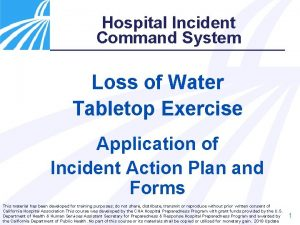 Hospital Incident Command System Loss of Water Tabletop