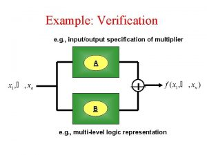 Example Verification e g inputoutput specification of multiplier