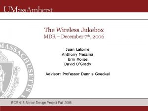 The Wireless Jukebox MDR December 7 th 2006
