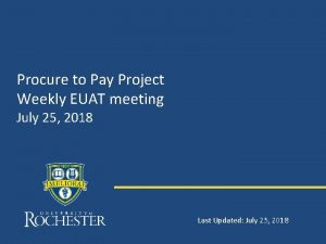Procure to Pay Project Weekly EUAT meeting July
