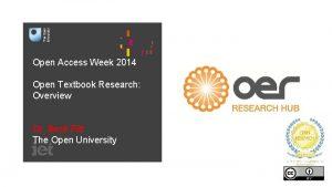 Open Access Week 2014 Open Textbook Research Overview