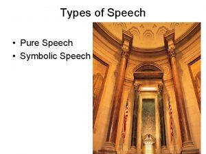 Types of Speech Pure Speech Symbolic Speech Pure