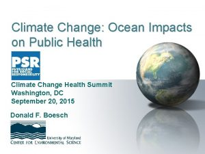 Climate Change Ocean Impacts on Public Health Climate