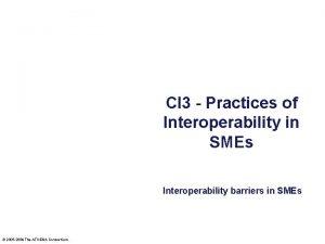 CI 3 Practices of Interoperability in SMEs Interoperability