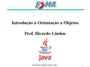 Introduo Orientao a Objetos Prof Ricardo Linden Programao