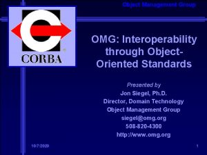 Object Management Group OMG Interoperability through Object Oriented