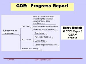 GDE Progress Report Barry Barish ILCSC Report CERN