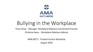 Bullying in the Workplace Tony Chase Manager Workplace