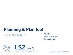 Planning Plan tool K Foraz ENMEF PLAN Methodology