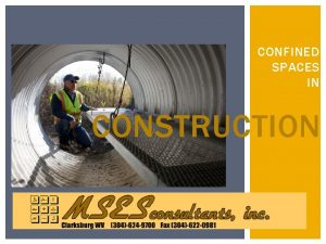CONFINED SPACES IN CONSTRUCTION CONSTRUCTION CONFINED SPACES 1980