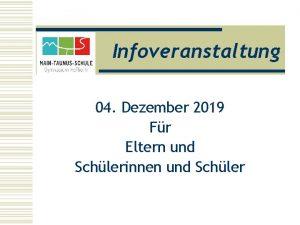 Infoveranstaltung 04 Dezember 2019 Fr Eltern und Schlerinnen