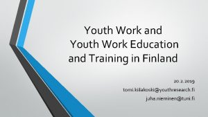 Youth Work and Youth Work Education and Training