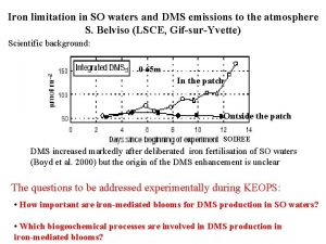 Iron limitation in SO waters and DMS emissions