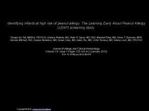 Identifying infants at high risk of peanut allergy