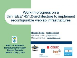 Workinprogress on a thin IEEE 1451 0 architecture
