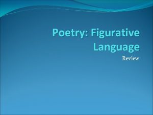 Poetry Figurative Language Review Figurative Language What is