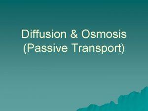 Diffusion Osmosis Passive Transport Passive Transport u When