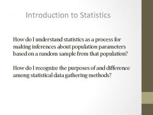 Introduction to Statistics How do I understand statistics