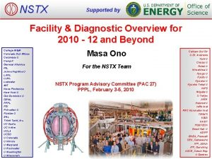 NSTX Supported by Facility Diagnostic Overview for 2010